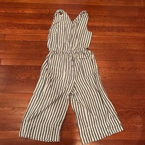 Splendid Blue and White Striped Crop Jumpsuit